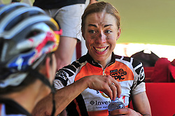WELLINGTON SOUTH AFRICA - MARCH 22: Annika Langvad at the finish of stage three's 111km from Wellington to Worcester on March 22, 2018 in Western Cape, South Africa. Mountain bikers gather from around the world to compete in the 2018 ABSA Cape Epic, racing 8 days and 658km across the Western Cape with an accumulated 13 530m of climbing ascent, often referred to as the 'untamed race' the Cape Epic is said to be the toughest mountain bike event in the world. (Photo by Dino Lloyd)