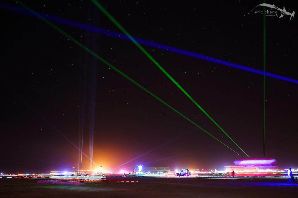Frickin' laser beams. Burning Man 2014.