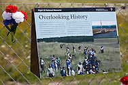Sign at the Flight 93 National Memorial site's temporary memorial  that overlooks the field where the flight crashed in Shanksville Pennsylvania. The temporary site will close on Sept. 9th at 4 P.M. and on Sept. 10 the official memorial will open in time for the 10th anniversary of 9/11