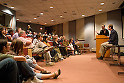 """Jeff Goodell, (second from right) investigative journalist and author of """"Big Coal,"""" gives a lecture on the perils of coal as an energy source on Wednesday, April 16, 2008 in Ohio University's Scripps Auditorium."""