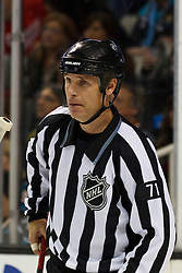 Nov 17, 2011; San Jose, CA, USA; NHL linesman Brad Kovachik (71) before a face off between the San Jose Sharks and the Detroit Red Wings during the first period at HP Pavilion. San Jose defeated Detroit 5-2. Mandatory Credit: Jason O. Watson-US PRESSWIRE