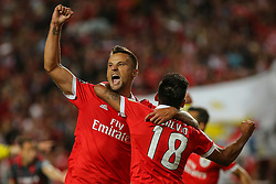 August 9, 2017 - Lisbon, Lisbon, Portugal - Benficas forward Toto Salvio from Argentina (R) celebrating with Benficas forward Haris Seferovic from Switzerland (R) after scoring a goal during the Premier League 2017/18 match between SL Benfica v SC Braga, at Luz Stadium in Lisbon on August 9, 2017. (Credit Image: © Dpi/NurPhoto via ZUMA Press)