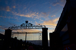"""LIVERPOOL, ENGLAND - Saturday, December 29, 2018: Liverpool's famous Shankly Gates featuring """"You'll Never Walk Alone"""" pictured before the FA Premier League match between Liverpool FC and Arsenal FC at Anfield. (Pic by David Rawcliffe/Propaganda)"""