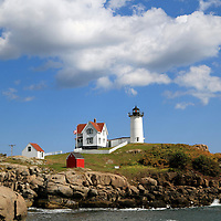 Cape Neddick Lighthouse also called Nubble Light, York, Maine, USA