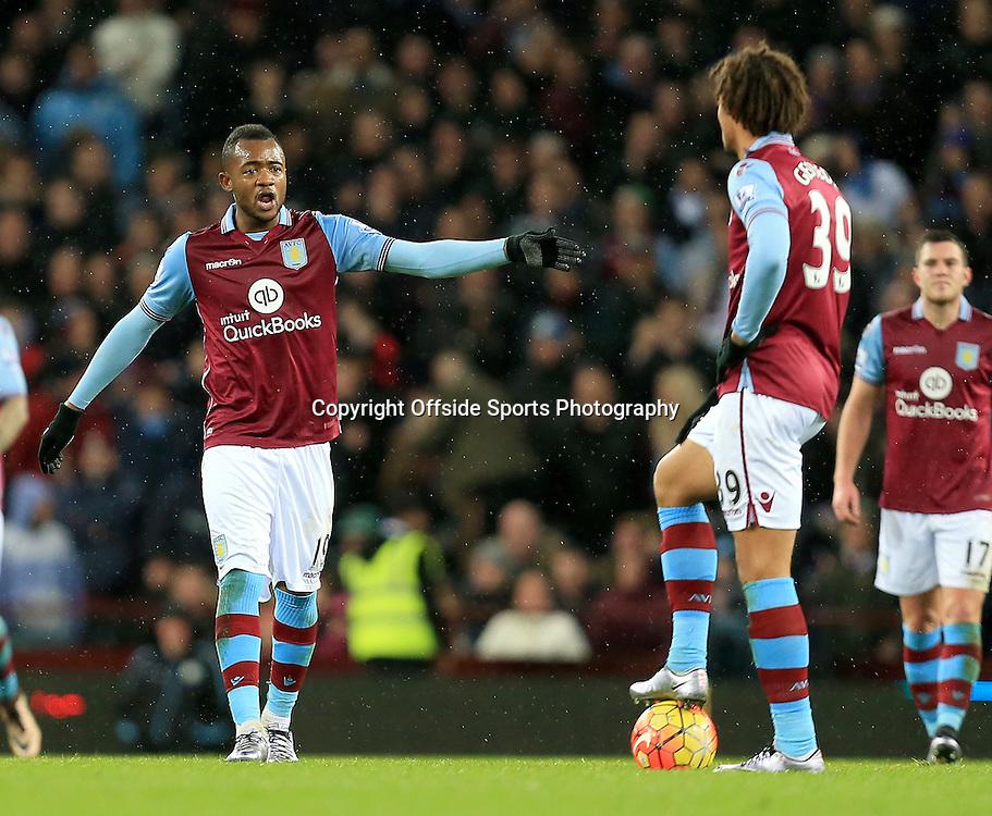 28th November 2015 - Barclays Premier League - Aston Villa v Watford -  Jordan Ayew of Aston Villa argues with Rudy Gestede after Villa concede the third (1-3) - Photo: Paul Roberts / Offside.