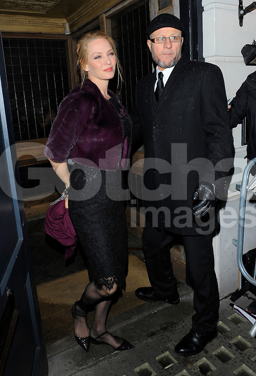 Uma Thurman attends Harvey Weinstein's pre-BAFTA dinner at Little House restaurant in London, UK. 14/02/2014<br />BYLINE MUST READ : GOTCHAIMAGES.COM<br /><br />Copyright by &copy; Gotcha Images Ltd. All rights reserved.<br />Usage of this image is conditional upon the acceptance <br />of Gotcha Images Ltd, terms and conditions available at<br />www.gotchaimages.com