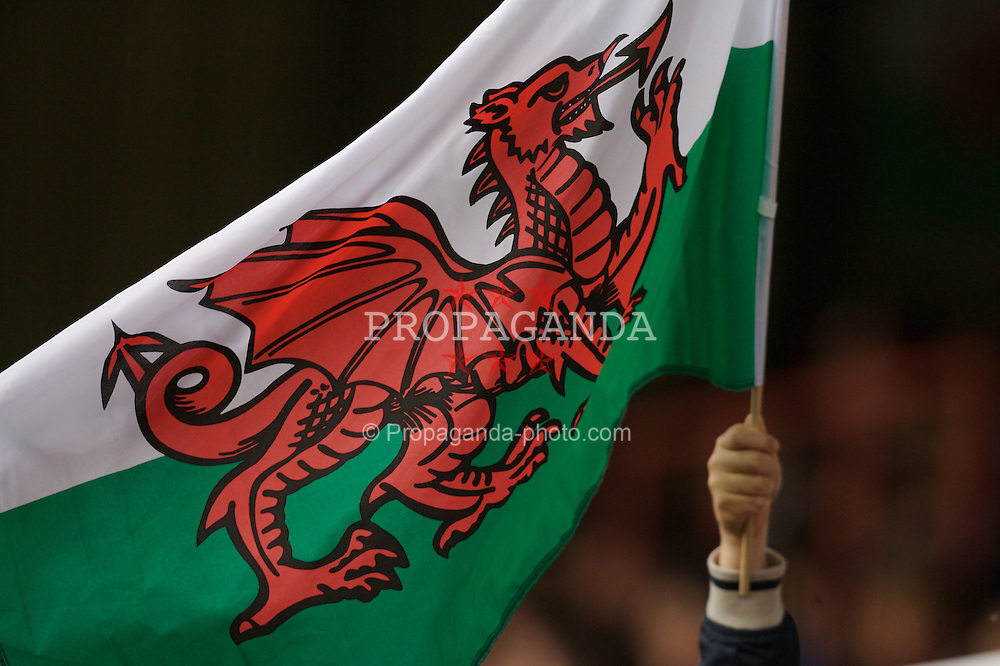 Wrexham, Wales - Saturday, May 26, 2007: A Wales fan waves a flag during the International Friendly match at the Racecourse Ground. (Pic by David Rawcliffe/Propaganda)