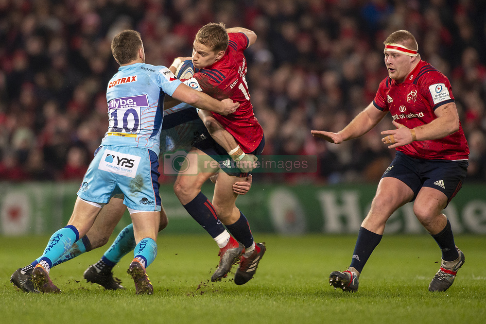 January 19, 2019 - Limerick, Ireland - Mike Haley of Munster tackled by Joe Simmonds of Exeter during the Heineken Champions Cup match between Munster Rugby and Exeter Chiefs at Thomond Park in Limerick, Ireland on January 19, 2019  (Credit Image: © Andrew Surma/NurPhoto via ZUMA Press)