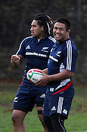 Keven Mealamu of the All Blacks (r) . The New Zealand rugby team training at  Sophia Gardens in Cardiff ahead of the Match against Wales..pic by Andrew Orchard, Andrew Orchard sports photography.