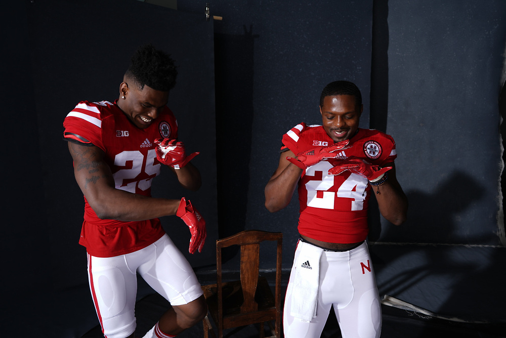 Antonio Reed #25 and Aaron Williams #24 during a portrait session at Memorial Stadium in Lincoln, Neb. on June 6, 2017. Photo by Paul Bellinger, Hail Varsity