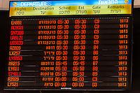 Flight departure screen, Ben Gurion International Airport, Israel.