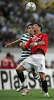 Photo: Paul Thomas.<br /> Sporting Lisbon v Manchester United. UEFA Champions League Group F. 19/09/2007.<br /> <br /> Cristiano Ronaldo (R) of Utd battles with Simon Vukcevic.
