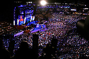 The DNC Convention in Denver will make Obama their candidate.<br /> <br /> <br /> <br /> New York Senator and former Presidential contender Hillary Clinton (D) speaking at the Convention.