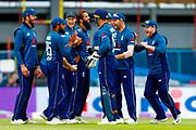 England ODI  celebrate England ODI all rounder Ben Stokes running out India ODI batsman Shikhar Dhawan  during the 3rd Royal London ODI match between England and India at Headingley Stadium, Headingley, United Kingdom on 17 July 2018. Picture by Simon Davies.
