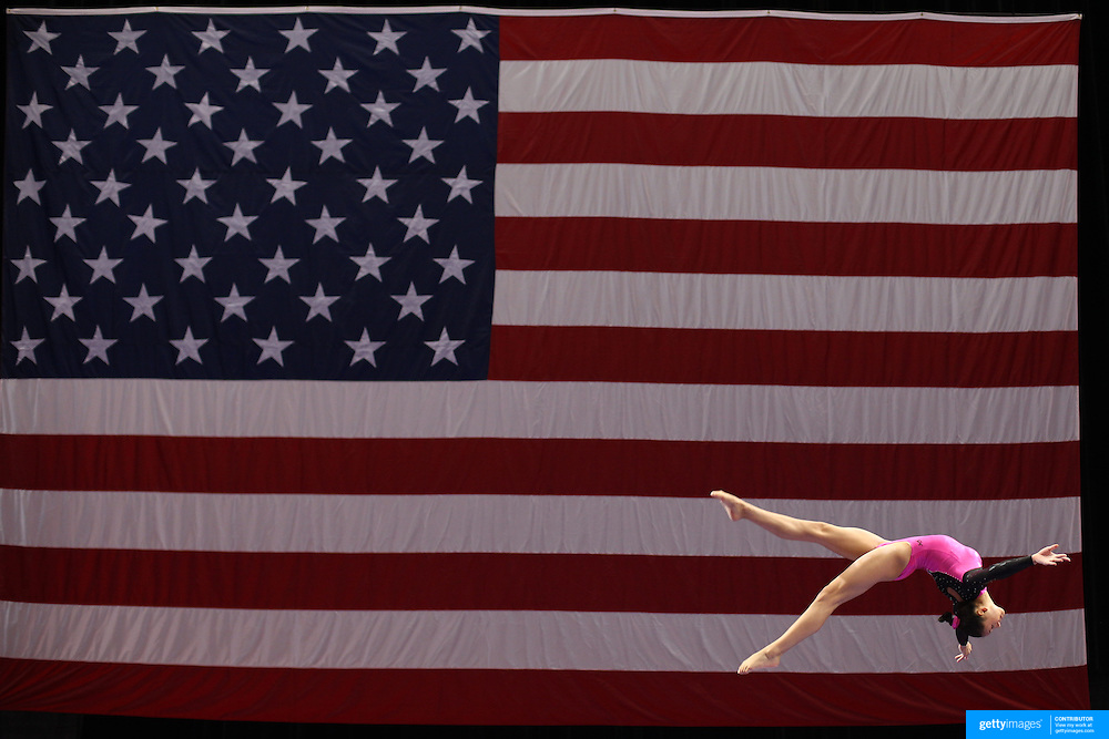Kyla Ross, Aliso Viejo, California, in action on the Balance Beam during the Senior Women Competition at The 2013 P&G Gymnastics Championships, USA Gymnastics' National Championships at the XL, Centre, Hartford, Connecticut, USA. 15th August 2013. Photo Tim Clayton