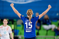 Barbara Lazovic #15 of RK Krim Mercator celebrates during handball match between RK Krim Mercator (SLO) and Larvik HK (NOR) in 1st Round of Women's Champions League on February 1, 2014 in Arena Stozice, Ljubljana, Slovenia. Photo by Urban Urbanc / Sportida