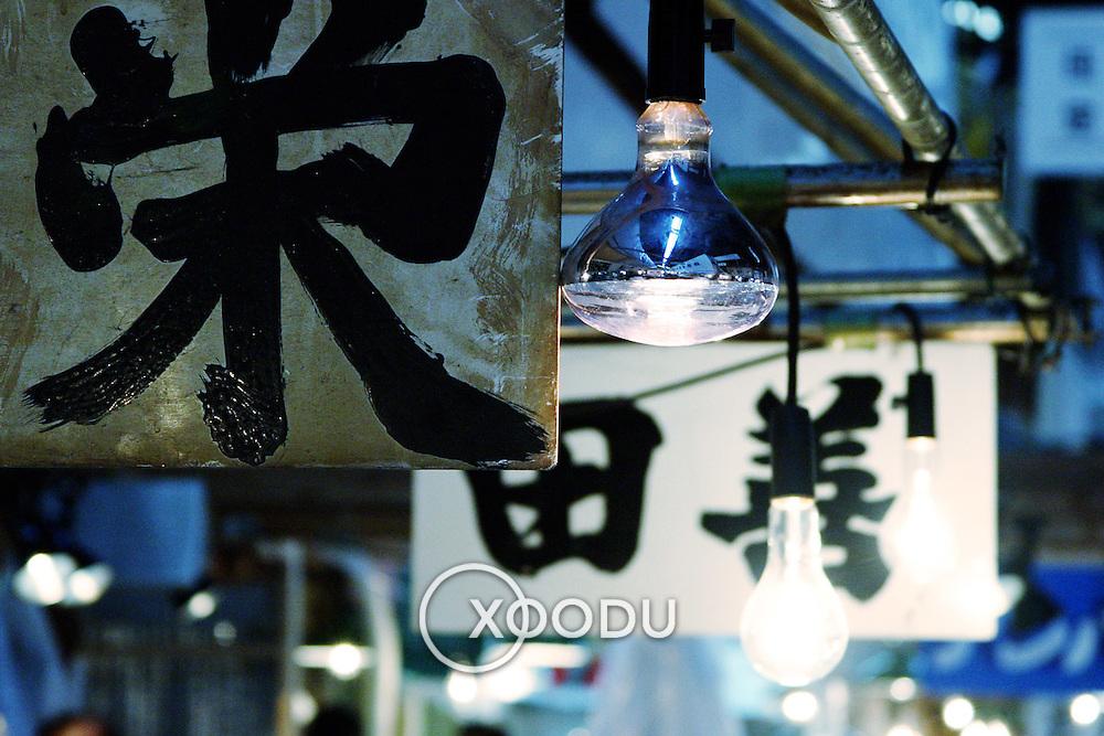 Signs and light bulbs, Tokyo, Japan (May 2004)