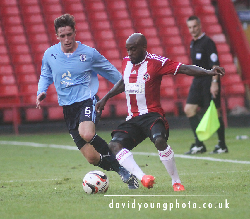 Dundee trialist Adam Dodd closes in on Sheffield United's James Campbell-Ryce - Sheffield United v Dundee, pre season friendly at Bramall Lane<br /> <br />  - &copy; David Young - www.davidyoungphoto.co.uk - email: davidyoungphoto@gmail.com