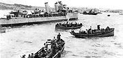 Canadian destroyer 'Fraser' off Spanish coast with Basque fishing boats full of British subjects and allied refugees to be embarked on British cargo boat 'Baron Nairn'. 'Fraser' was sunk in a collision on 25 June 1941.