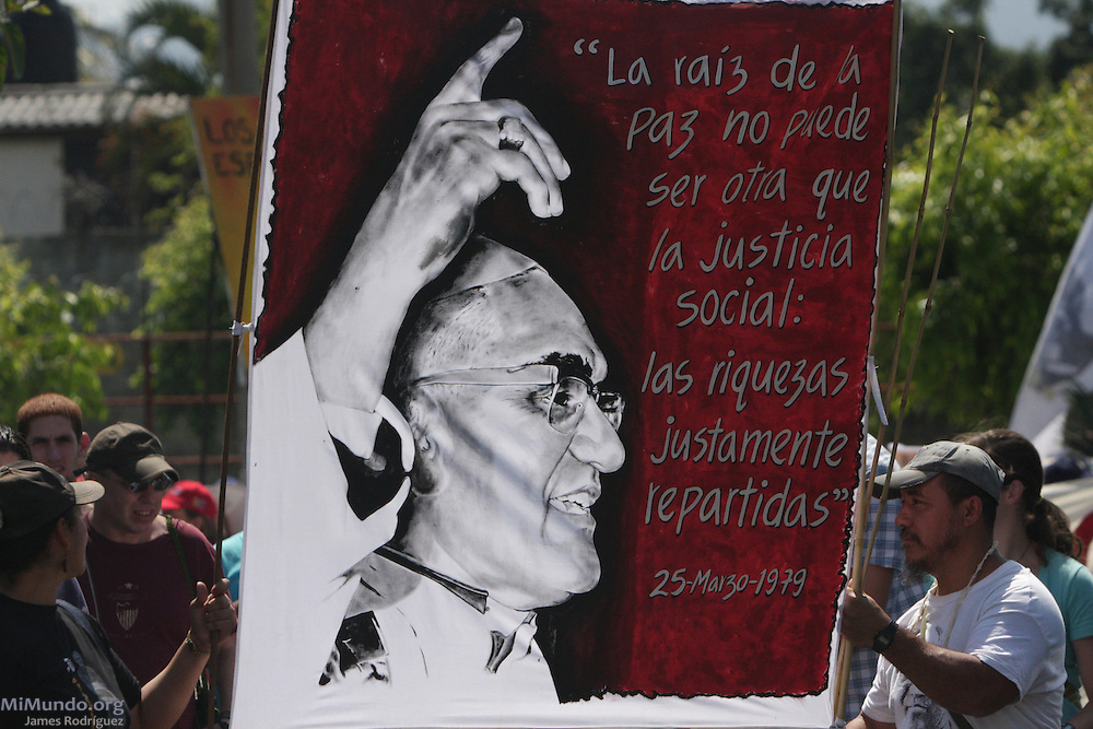 Thousands gather in San Salvador to commemorate the 30th anniversary of the assassination of Monsignor Oscar Arnulfo Romero. On March 24th, 1980, Monsignor Romero, Archbishop of San Salvador, was gunned down by a professional sniper while giving a mass in the chapel of the Divina Providencia Hospital. Monsignor Romero had become a recognized critic of violence and injustice and was therefore perceived as a dangerous enemy by certain military and right wing groups in El Salvador. San Salvador, El Salvador. March 24, 2010.
