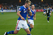 Carlisle United Defender Danny Grainger Celebrating the opening goal during the Sky Bet League 2 match between Carlisle United and Portsmouth at Brunton Park, Carlisle, England on 21 November 2015. Photo by Craig McAllister.