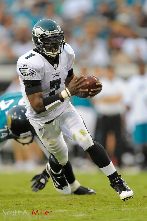 Philadelphia Eagles quarterback Michael Vick (7) during the Eagles 28-3 win over the Jacksonville Jaguars at EverBank Field in Jacksonville, Fl. on Sept. 26, 2010.
