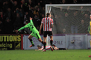 Darren Carter scores his goal during the Vanarama National League match between Cheltenham Town and Forest Green Rovers at Whaddon Road, Cheltenham, England on 21 November 2015. Photo by Antony Thompson.