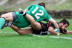 Rugby match between National team of Slovenia (green) and Austria (black) at EUROPEAN NATIONS CUP 2012-2014 of C group 2nd division, on April 20, 2013, in Stanezice, Ljubljana, Slovenia. (Photo by Matic Klansek Velej / Sportida.com)