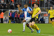 Bristol Rovers striker Jermaine Easter bursts forward during the The FA Cup match between Bristol Rovers and Chesham FC at the Memorial Stadium, Bristol, England on 8 November 2015. Photo by Alan Franklin.