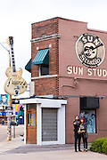 Selfie at Sun Studio, birthplace of rock and roll, stars Elvis Presley, Johnny Cash, Jerry Lee Lewis, Carl Perkins, Memphis, USA