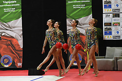 July 28, 2018 - Chieti, Abruzzo, Italy - Rhythmic gymnastics team of Italy performs its 3 ball 2 ropes routine during the Rhythmic Gymnastics pre World Championship Italy-Ukraine-Germany at Palatricalle on 29th of July 2018 in Chieti Italy. (Credit Image: © Franco Romano/NurPhoto via ZUMA Press)