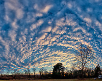 Late Afternoon Winter Clouds and Sky Over New Jersey. Composite of 6 images taken with a Nikon D810a camera and 14-24 mm f/2.8 zoom lens (ISO 200, 14 mm, f/8, 1/100 sec). Raw images processed with Capture One Pro, Photoshop CC, and AutoGiga Pan Promo.