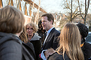 © Licensed to London News Pictures. 06/03/2015. London, UK. NIKC CLEGG talks with women canvassing on behalf of the Liberal Democrats. Deputy Prime Minister and Leader of the Liberal Democrats NICK CLEGG  and Hornsey and Wood Green MP LYNNE FEATHERSTONE visit Hornsey School for Girls today, 6th March 2015, as part of the schools work surrounding International Women's Day (March 9th). They watched a presentation by pupils on FGM, visited a careers stand promoting careers where women are under-represented and took part in a Q&A about women in politics. Photo credit : Stephen Simpson/LNP