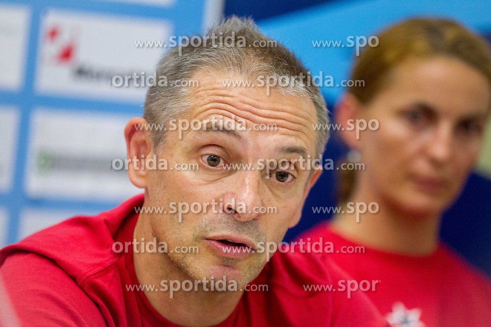 Tone Tiselj, head coach during press conference of RK Krim Mercator before new women handball season 2013/14 on July 30, 2013 in Arena Stozice, Ljubljana, Slovenia.  (Photo by Vid Ponikvar / Sportida.com)
