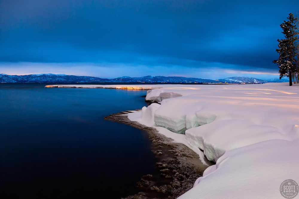"""Snowy Shore on Lake Tahoe 1"" - This snowy shore line on Lake Tahoe was photographed at dusk in Tahoe City, CA."