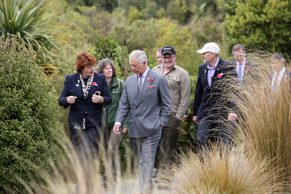 Prince Charles, Prince of Wales and the Maggie Barry, Minister of Conservation during their visit to the Orokonui Ecosanctuary, Dunedin, New Zealand, Thursday, November 05, 2015. Credit:SNPA / Getty, Rob Jefferies **POOL**