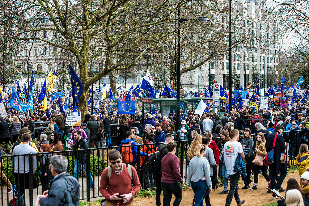 March 23, 2019 - London, United Kingdom - Protesters are seen gathering at Park Lane while holding flags, placards during the demonstration..Thousands of protesters gathered at central London to take part in the Put It to the People March. The march from Park Lane to Parliament Square was organised by the Peoples Vote campaign and is calling for a public vote on the Governments final Brexit deal. (Credit Image: © Brais G. Rouco/SOPA Images via ZUMA Wire)