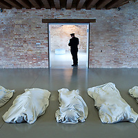 """VENICE, ITALY April 8th: Work by artist Maurizio Cattelan """" All""""  nine sculptures in white Carrara marble at the opening of the Exhibition In Praise of Doubt at Punta della Dogana  organised by the Francois Pinault Foundation ...HOW TO BUY THIS PICTURE: please contact us via e-mail at sales@xianpix.com or call our offices in Milan at (+39) 02 400 47313 or London   +44 (0)207 1939846 for prices and terms of copyright."""