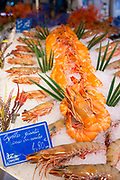 Seafood crevettes gents - giant prawns - on display for sale in food market at St Martin de Re, Ile de Re, France