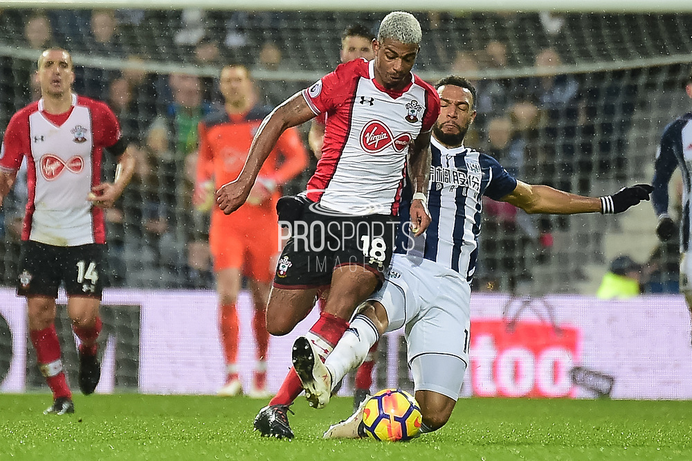 West Bromwich Albion midfielder Matt Philips (10) dives in to tackle Southampton midfielder Mario Lamina (18) during the Premier League match between West Bromwich Albion and Southampton at The Hawthorns, West Bromwich, England on 3 February 2018. Picture by Dennis Goodwin.