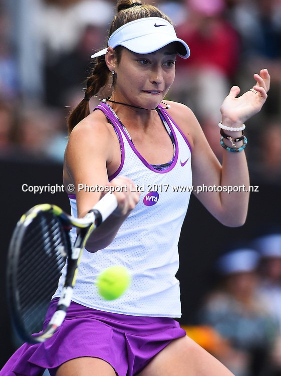 Jade Lewis from New Zealand during the ASB Classic WTA Womens Tournament Day 2. ASB Tennis Centre, Auckland, New Zealand. Tuesday 3 January 2017. ©Copyright Photo: Chris Symes / www.photosport.nz