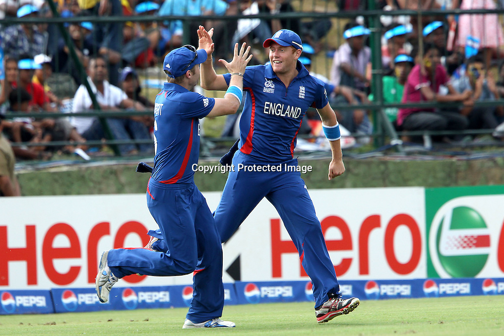 Jonny Bairstow of England and Luke Wright of England celebrate the wicket of Rob Nicol during the ICC World Twenty20 Super 8s match between England and New Zealand held at the  Pallekele Stadium in Kandy, Sri Lanka on the 29th September 2012<br /> <br /> Photo byRon Gaunt/SPORTZPICS/PHOTOSPORT