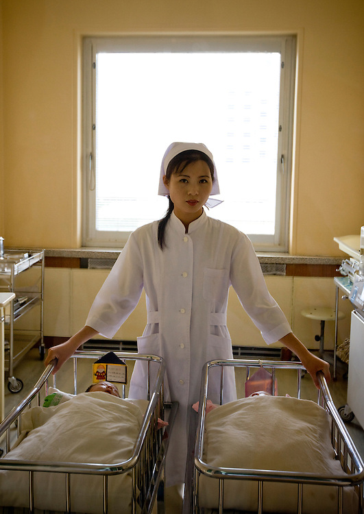 -What happens if a woman becomes pregnant but is not married? Is the baby kept?<br /> -That never happens<br /> -Yes but, you never know... an accident...<br /> -It never happens<br /> <br /> North Korea, Pyongyang, maternity