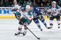 KELOWNA, CANADA - MARCH 11: Chance Braid #22 of Kelowna Rockets skates with the puck against the Victoria Royals on March 11, 2015 at Prospera Place in Kelowna, British Columbia, Canada.  (Photo by Marissa Baecker/Shoot the Breeze)  *** Local Caption *** Chance Braid;