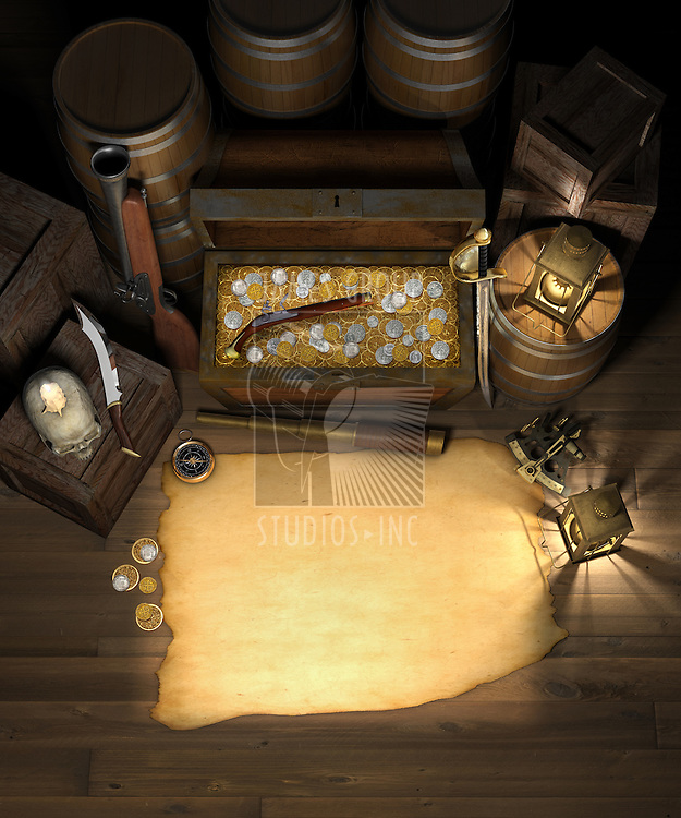Pirate treasure in the cargo hold of a pirate ship showing a treasure chest filled with gold and silver coins, behind a blank treasure map with a spy glass, compass, sextant, brass lanterns, blunderbuss, flintlock pistol, barrels and crates