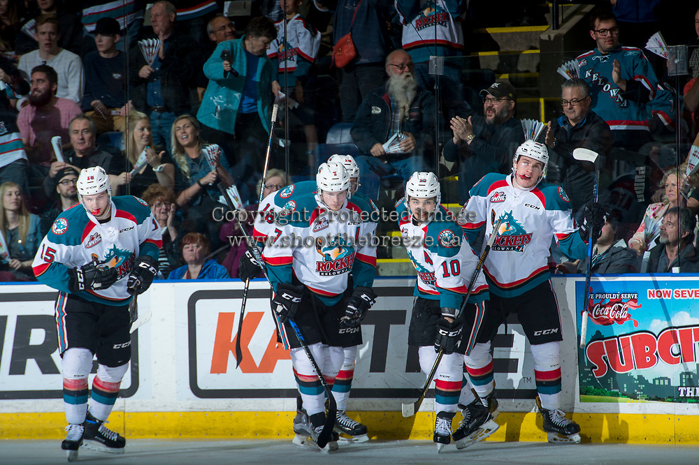 KELOWNA, CANADA - APRIL 26: Tomas Soustal #15, Lucas Johansen #7, Nick Merkley #10 and Nolan Foote #29 of the Kelowna Rockets celebrate a second period goal against the Seattle Thunderbirds on April 26, 2017 at Prospera Place in Kelowna, British Columbia, Canada.  (Photo by Marissa Baecker/Shoot the Breeze)  *** Local Caption ***