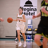 3rd year guard Avery Pearce (4) of the Regina Cougars in action during the home opener on November  10 at Centre for Kinesiology, Health and Sport. Credit: Arthur Ward/Arthur Images