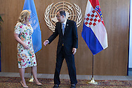 President of Croatia,Kolinda Grabar-Kitarovic,  with United Nations Secretary General Ban Ki moon.