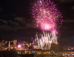 Edinburgh, Scotland, United Kingdom. 31 December 2017. Fireworks above the castle in Edinburgh to mark the New Year