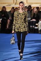 Katlin Aas walks the runway wearing Thakoon Fall 2011 Collection during Mercedes-Benz Fashion Week in New York on February 13, 2011